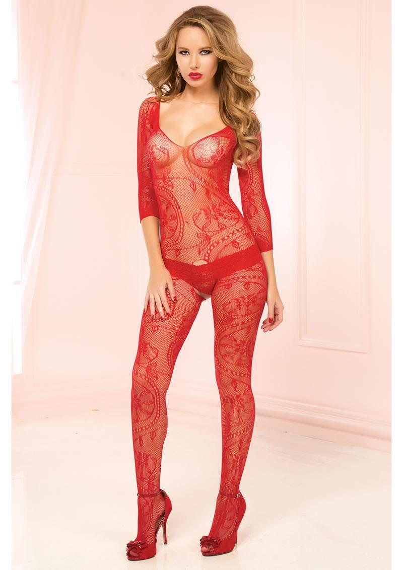 3/4 Sleeve Opencrotch Bodystocking-red-x